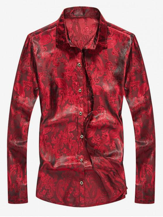 online Button Up Totem Print Shirt - RED WINE XS