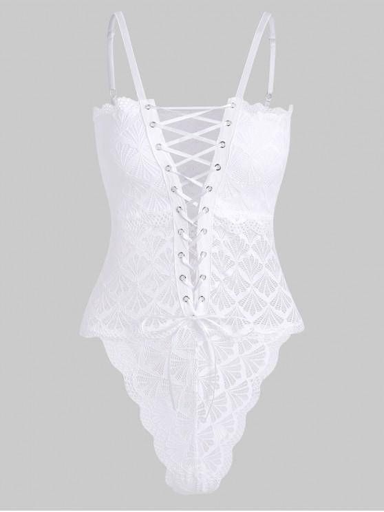 hot Lace Up High Leg Cami Teddy - WHITE L