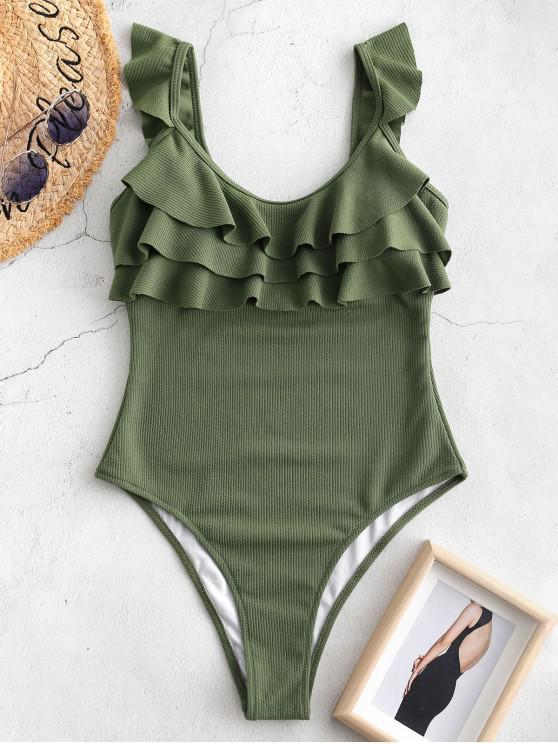 womens ZAFUL Ribbed Ruffle Open Back Swimsuit - HAZEL GREEN L