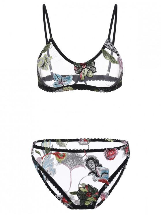 cac6b4cfe68 25% OFF  2019 Flower Embroidered Mesh Lingerie Set In MULTI-A