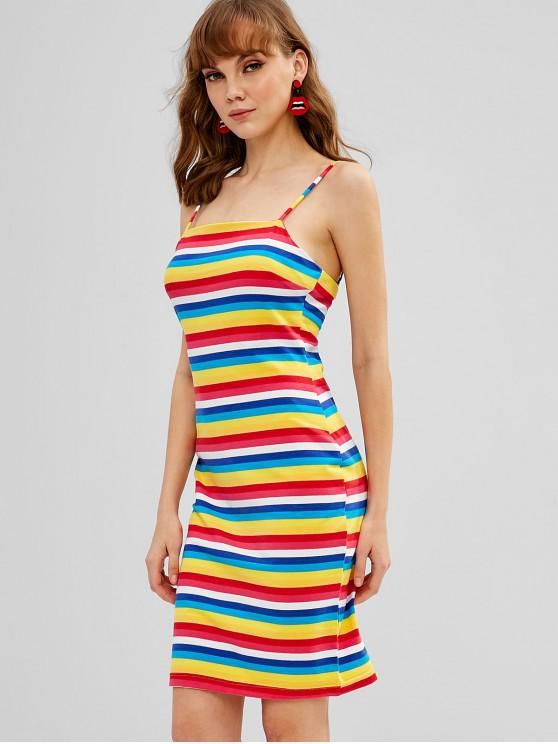 hot ZAFUL Cami Striped Bodycon Dress - MULTI-B L