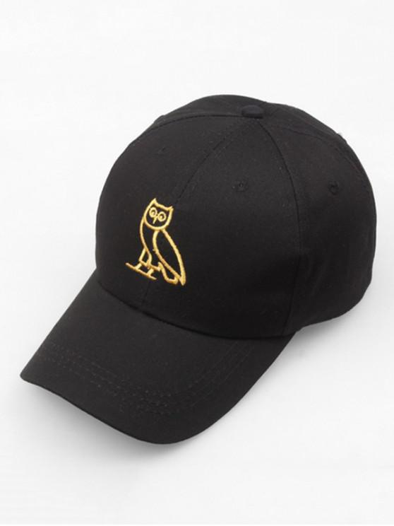hot Night Owl Embroidery Sport Baseball Cap - BLACK