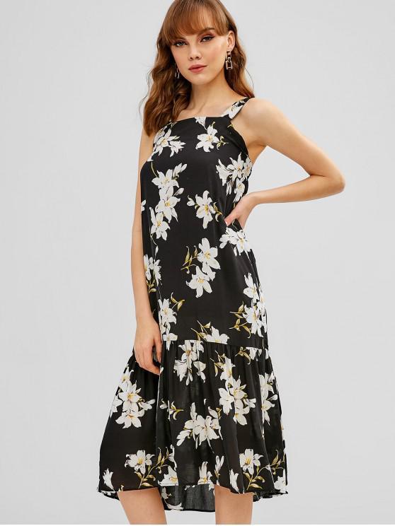 affordable Midi Flower Print Bohemian Dress - BLACK L