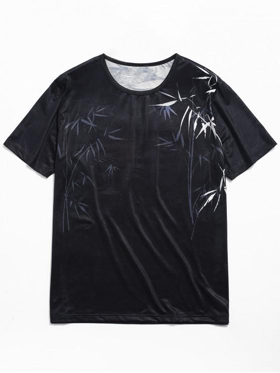 trendy Bamboo Print Smooth Jacquard Tee - BLACK S