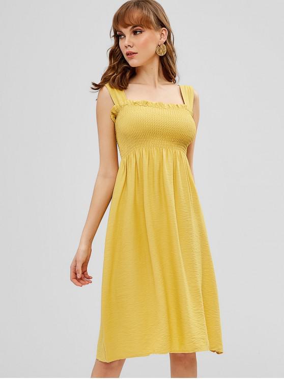 d3d001919d 24% OFF  2019 Vestido Sem Mangas Franzido Shirred Com Amarelo ...