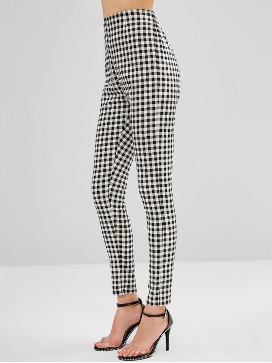 affordable ZAFUL High Waist Plaid Fitted Pants - BLACK S