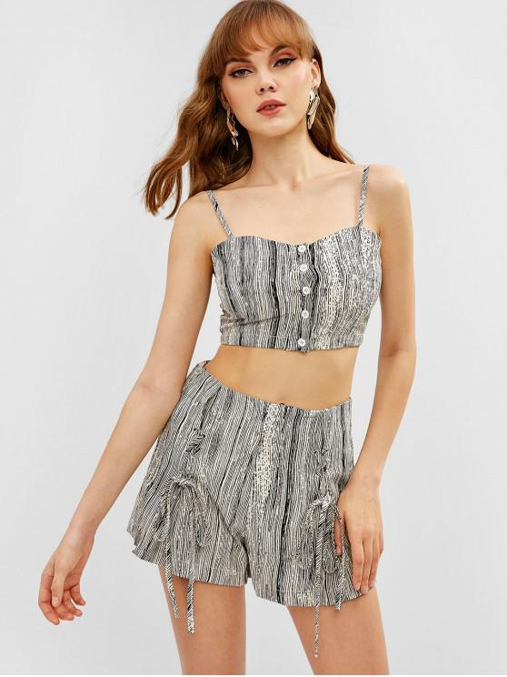 womens Striped Cami Top and Lace-up Shorts Set - GRAY XS