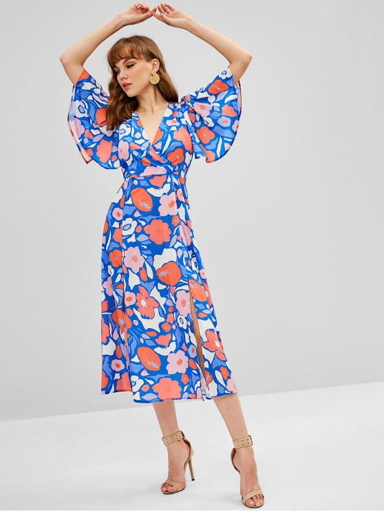 sale Floral Print Flutter Sleeve Midi Dress - MULTI M