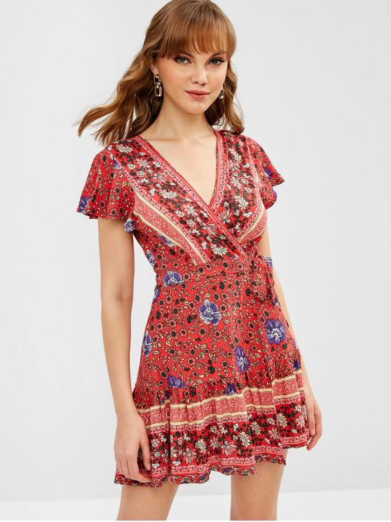 ladies Bohemian Floral Wrap Dress - RED M