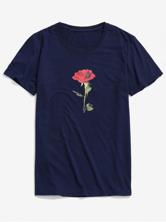 fashion Rose Short Sleeves Valentine Day Top - MIDNIGHT BLUE L