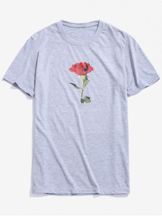 fancy Rose Short Sleeves Valentine Day Top - GRAY S