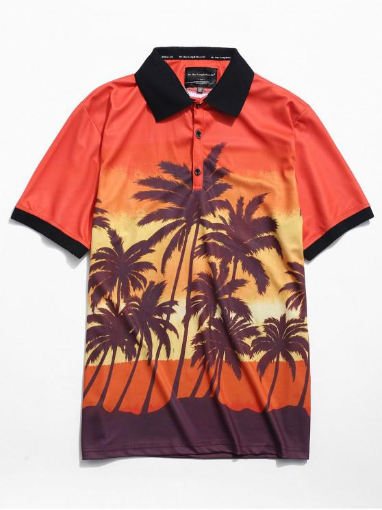 trendy Coconut Tree Print Short T-shirt - HALLOWEEN ORANGE XS