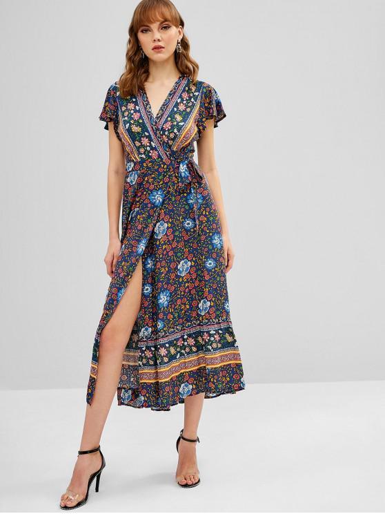 Flor Floral Borboleta Flounce Wrap Dress - Cadetblue M