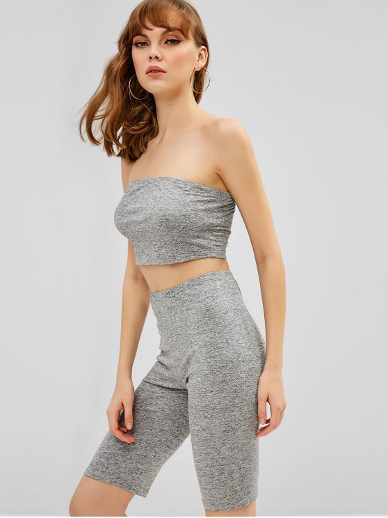 outfit ZAFUL Plain Bandeau Top And Biker Shorts Set - GRAY M