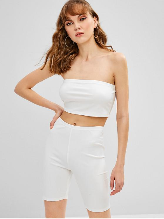 shop ZAFUL Bandeau Top And Biker Shorts Set - WHITE M