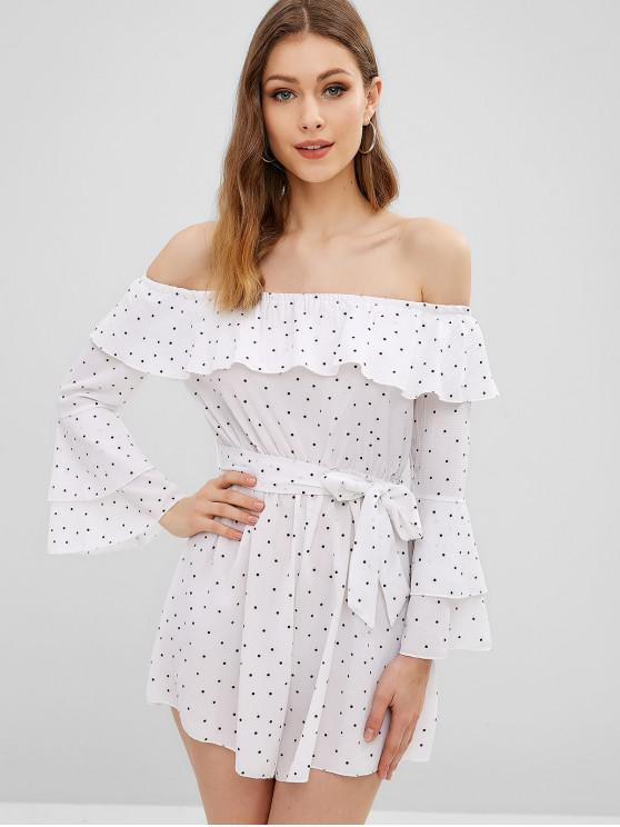 outfits Flare Sleeve Dots Off Shoulder Romper - WHITE L