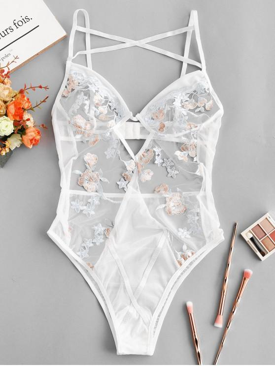 buy Flower Embroidered Criss Cross Cut Out Teddy - WHITE M
