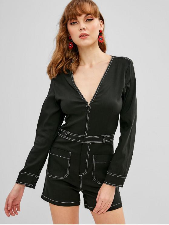 women Pockets V Neck Zip Front Romper - TWILIGHT BLACK M