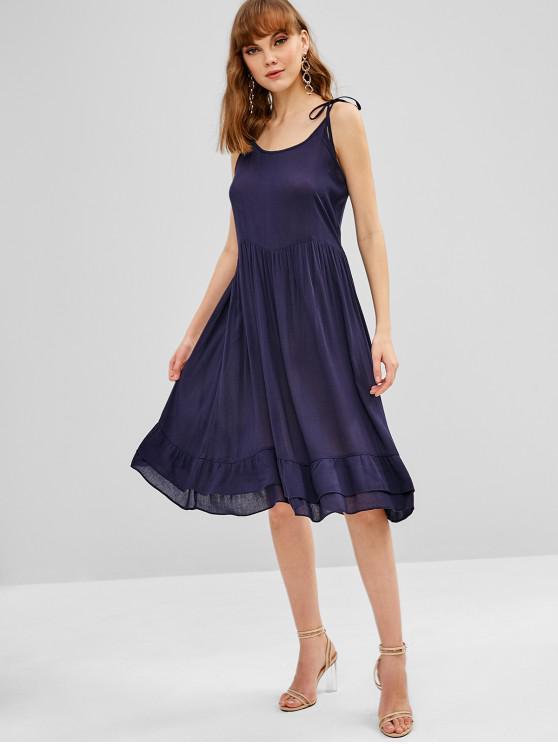fancy ZAFUL Tie Shoulder Strap Midi Slip Dress - DENIM DARK BLUE L