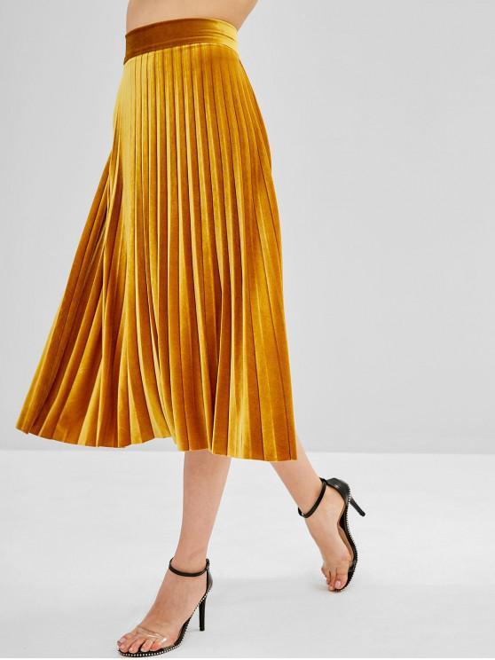 women's A Line Velvet Pleated Skirt - ORANGE GOLD S