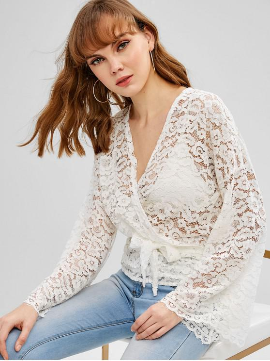 affordable Knotted Wrap Lace Blouse - WHITE S