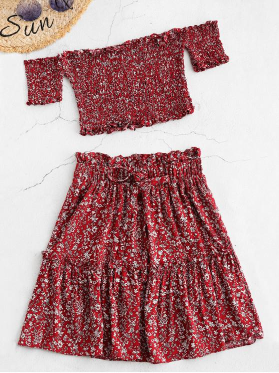 unique ZAFUL Smocked Floral Print Top and Skirt Set - RED WINE L