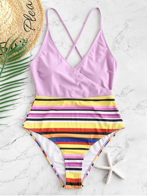 8b8fab2694 25% OFF] 2019 ZAFUL Colorful Striped Lace Up Cami Swimsuit In MAUVE ...