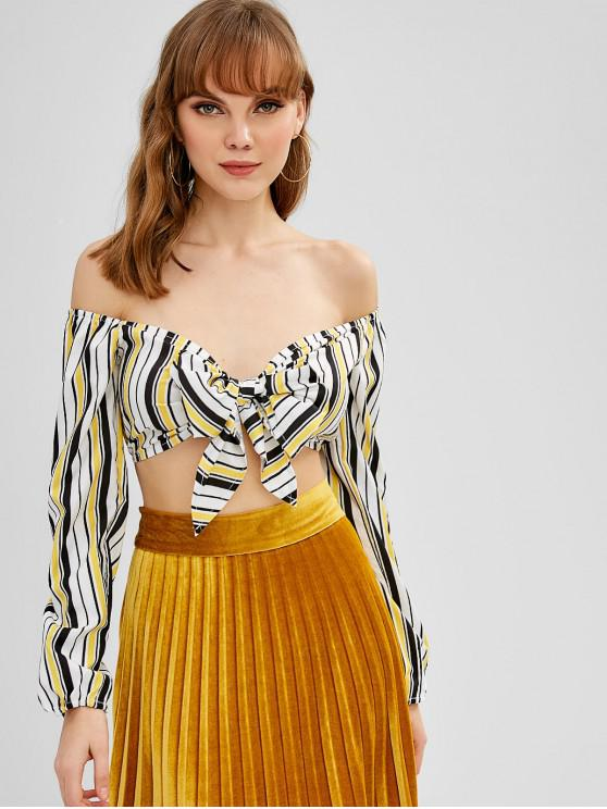 new Striped Tie Front Off Shoulder Crop Top - YELLOW XL