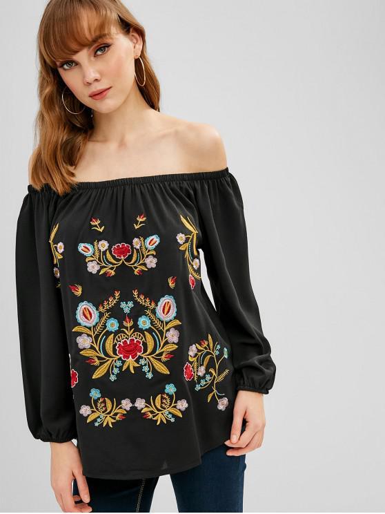 outfits Off Shoulder Floral Embroidered Blouse - BLACK M