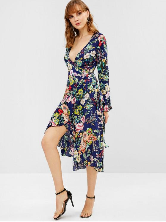 shops Floral Wrap Tie Up Ruffle Midi Dress - MULTI S