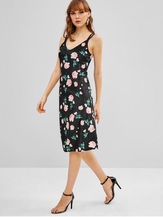 affordable Floral Dual Strap Velvet Dress - BLACK M