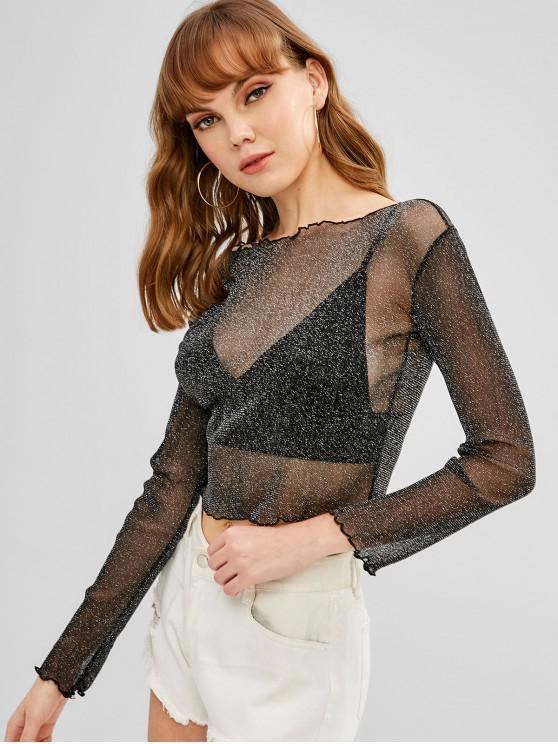 T brilhante Sheer Crop - Preto S
