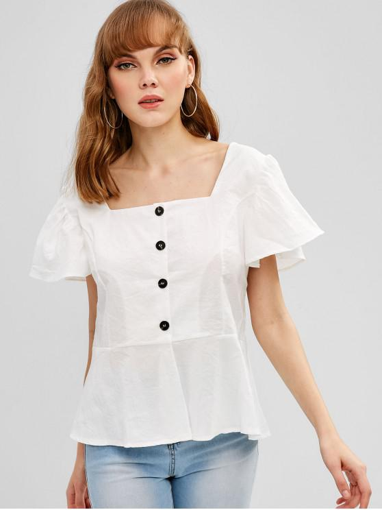 chic Ruffle Sleeve Buttoned Square Neck Top - WHITE M