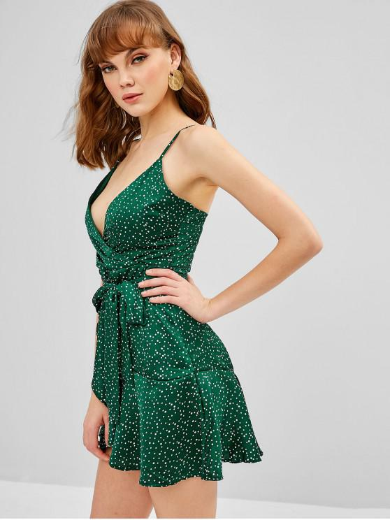 shops Polka Dot Cami Flounce Belted Dress - GREEN M
