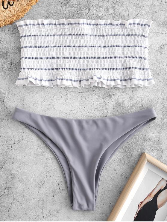 sale ZAFUL Striped Smocked Bandeau Bikini Set - SILVER S