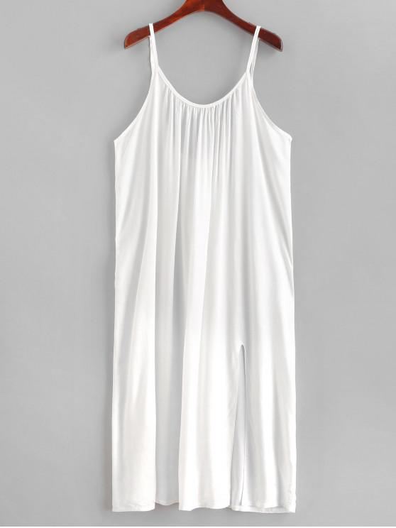 sale Slit Beach Dress - WHITE ONE SIZE
