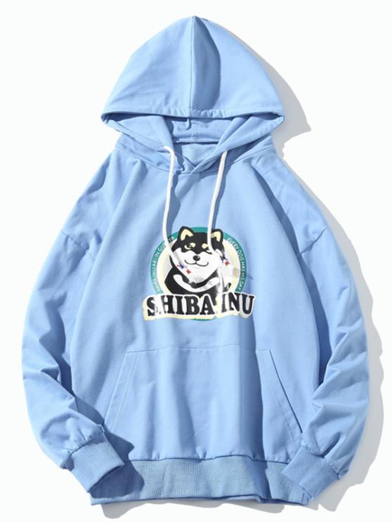 affordable Husky Dog Print Front Pocket Hoodie - BLUE M