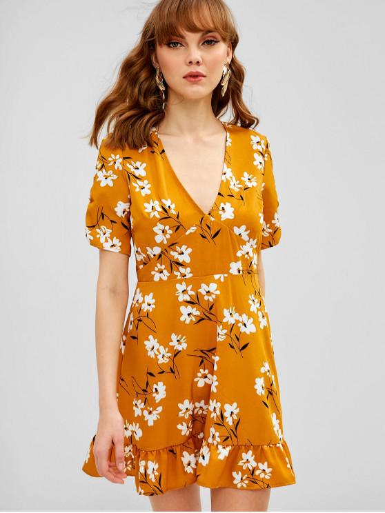 45754316c7 22% OFF  2019 Low Cut Floral Flounce Dress In BEE YELLOW