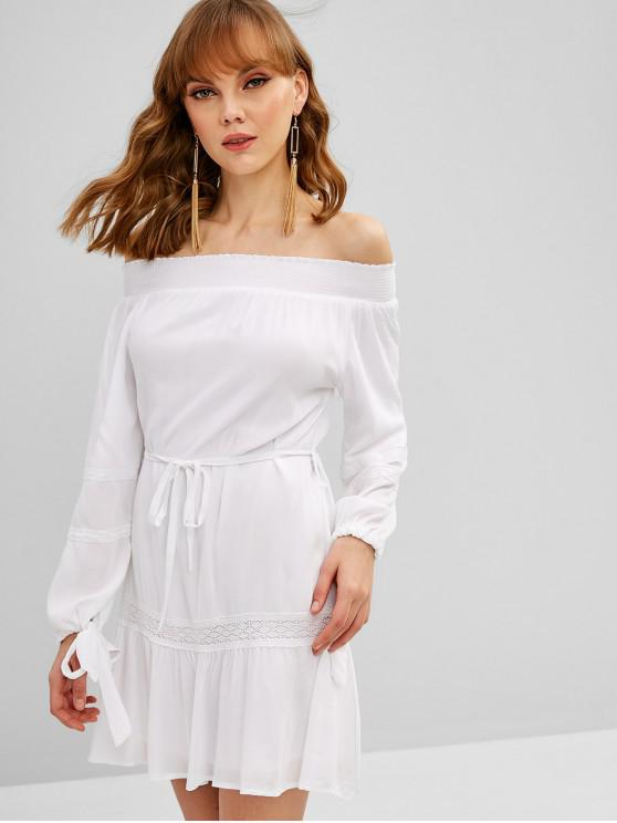 427ffd0f06bc 28% OFF] 2019 Long Sleeve Off Shoulder Belted Dress In WHITE | ZAFUL