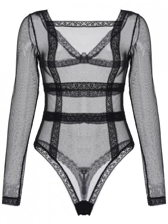 women's Mesh Lace Insert Long Sleeve Teddy - BLACK L