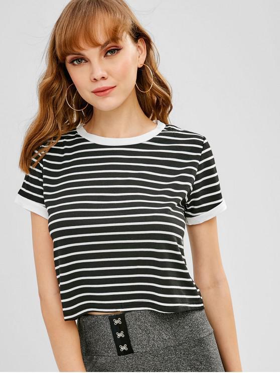 women Short Sleeves Striped Crop Tee - BLACK L