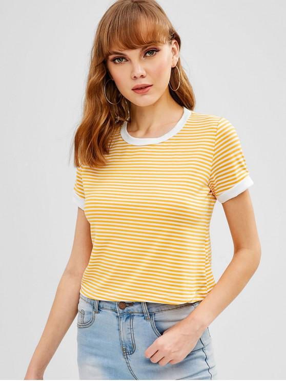 outfits Short Sleeves Striped Crop Tee - YELLOW L