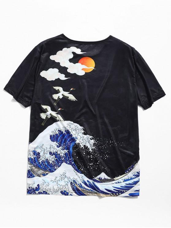 ladies Sea Sunset Print Jacquard Tee - BLACK M