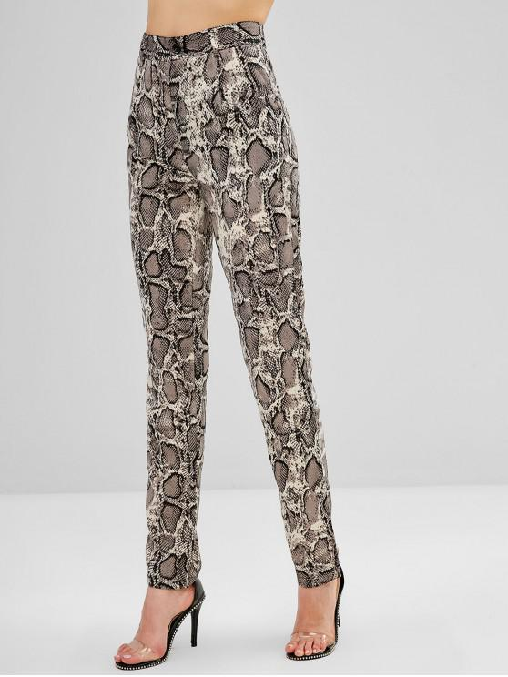 women High Waisted Snake Print Straight Pants - MULTI S