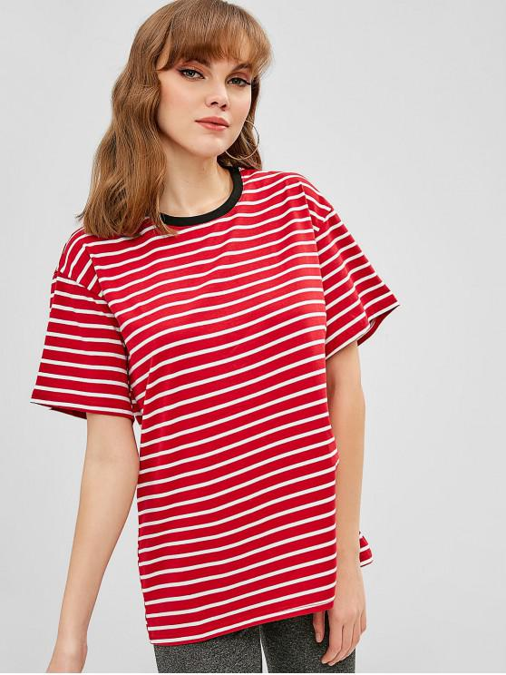 shop Round Neck Striped Longline Tee - RED ONE SIZE