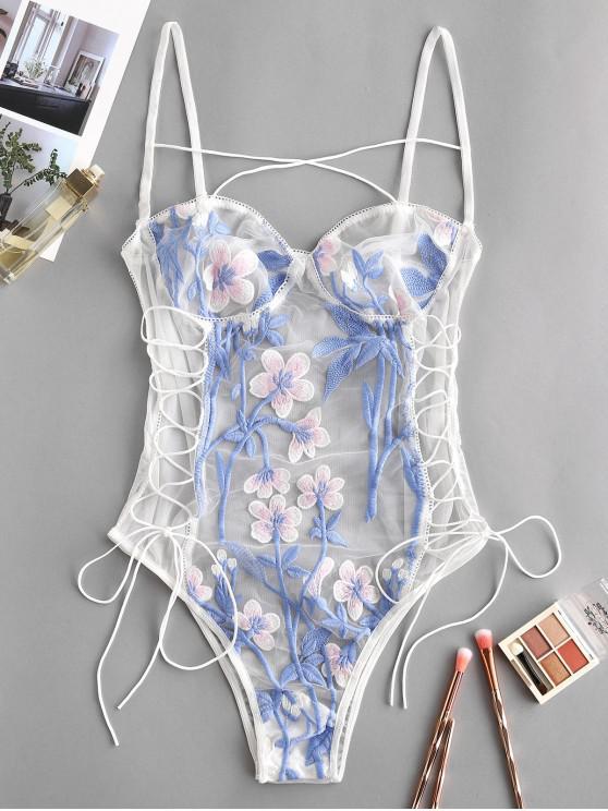 Body Fleur Imprimée Brodée en Maille à Lacets - Blanc S
