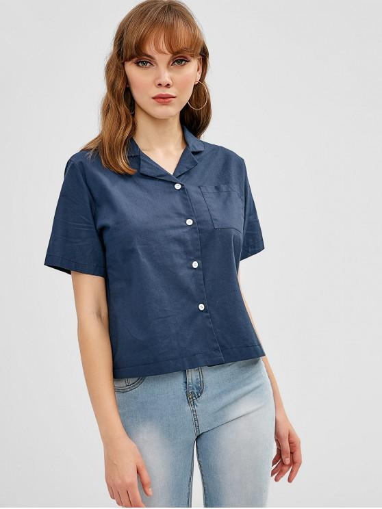 قميص البولينج - ازرق غامق حجم واحد