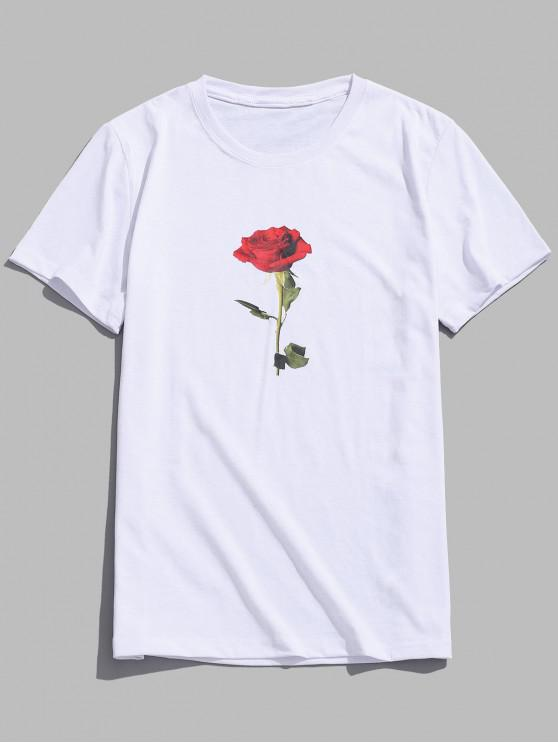 outfits Rose Short Sleeves Valentine Day Top - WHITE M