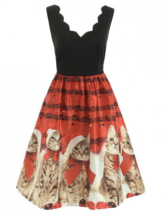 chic Christmas Musical Notes and Cats Flare Dress - RED S