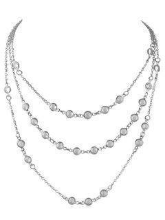 Perles Forme Triple Collier En Couches - Argent